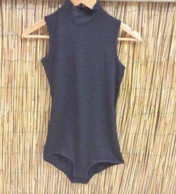 Bamboe body met col zwart